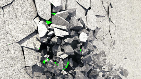 Metallic Wrecking Ball Shattering The White Wall. Green Screen CG動画素材
