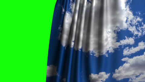 Curtain With White Clouds On The Blue Sky Opening On Green Screen Animation