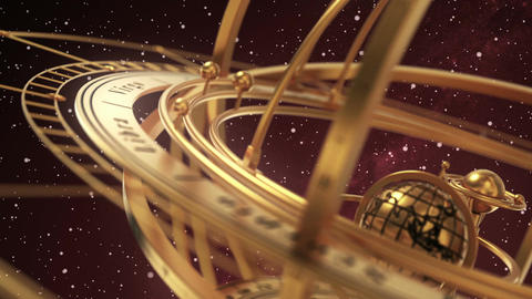Armillary Sphere On Red Background Of Starburst Animation