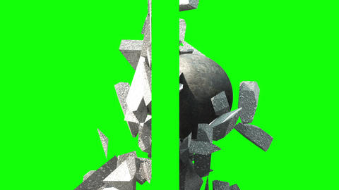 [alt video] Metallic Wrecking Ball Shattering The Wall. Side View.…