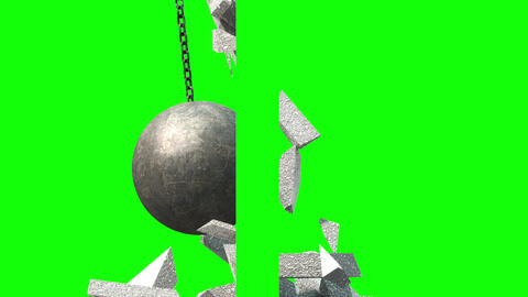 Metallic Wrecking Ball Shattering The Wall. Side View. Green Screen Animation