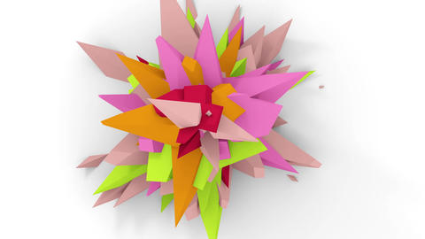 4K. Abstract Digital Flower. Version With Pink, Green And Orange Colors. Seamless Looped Animation