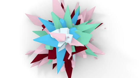 4K. Abstract Digital Flower. Version With Pink, Brown And Blue Colors. Seamless Looped Animation
