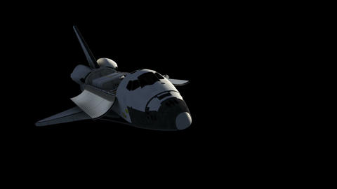 Flight Of Space Shuttle With Alpha Matte Animation