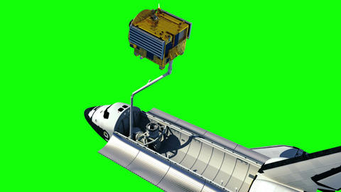 Space Shuttle Deploying Communication Satellite. Green Screen Animation