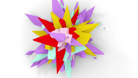 4K. Abstract Digital Flower. Version With Red; Purple And Yellow Colors. Seamless Looped Animation