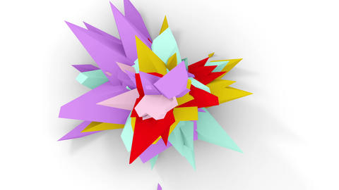 4K. Abstract Digital Flower. Version With Red; Purple And... Stock Video Footage