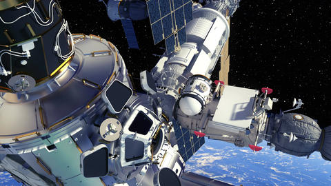 4K. International Space Station Orbiting Planet Earth Animation
