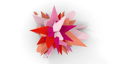 4K. Abstract Digital Flower. Version With Pink, White And... Stock Video Footage