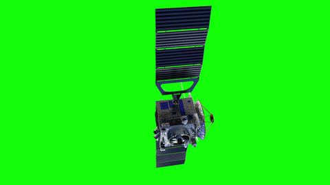 Satellite Deploys Solar Panels. Green Screen Animation