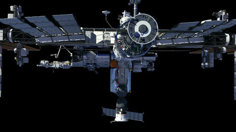 International Space Station With Alpha Matte Animation