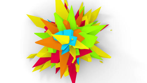 4K. Abstract Digital Flower. Version With Red, Yellow And Green Colors. Seamless Looped Animation