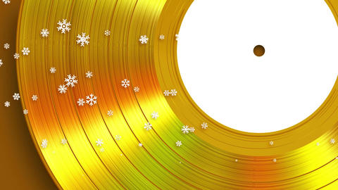 4K. Falling Snowflakes On The Background Of Gold Vinyl. Seamless Looped GIF