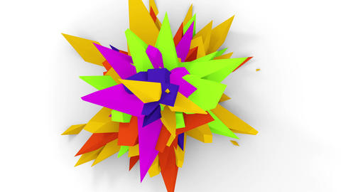 Orange Flower Abstract4K. Abstract Digital Flower. Version With Green, Yellow And Purple Colors Animation