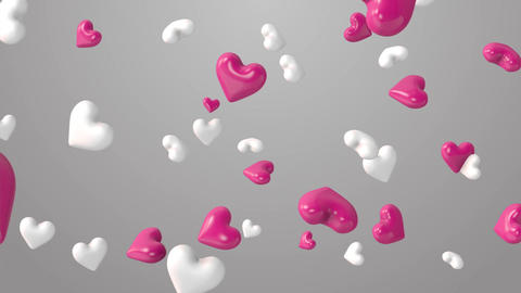 Animation of pink and white hearts on the beautiful background Footage