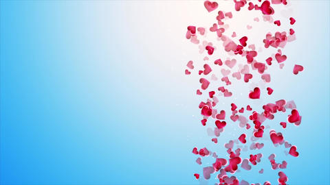 Beautiful blue background with falling hearts on Valentine's Day 画像
