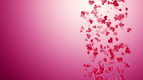 Beautiful pink background with falling hearts on Valentine's Day Footage