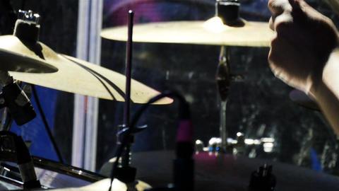 Closeup Band Member Plays Drum Complex at Celebration Concert Footage