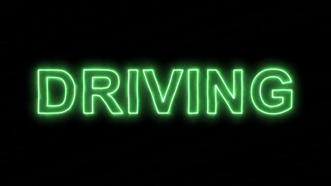 Neon flickering green text DRIVING in the haze. Alpha channel Premultiplied - Animation
