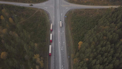 Aerial view truck car with freight container parking on roadsideat highway Footage