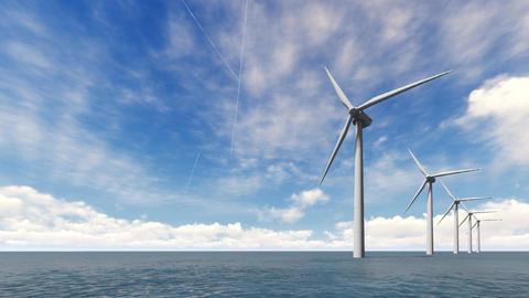 Wind turbines on the sea Footage