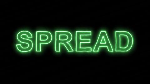 Neon flickering green text SPREAD in the haze. Alpha channel Premultiplied - Animation