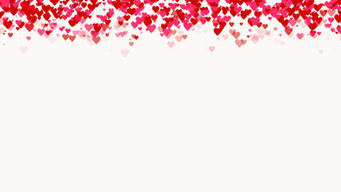 Seamless loop background with different colored confetti hearts for valentine Footage