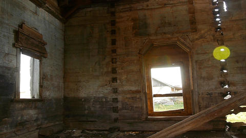 ray of sunshine in the old destroyed wooden church Footage