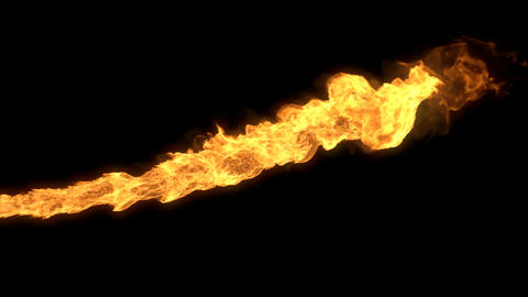 Realistic stream of fire like fire-breathing dragon's flames with alpha in 4K Animation