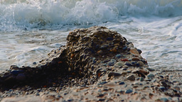 Waves Washing A Little Piece Of Concrete Left Over From A Large Breakwater stock footage