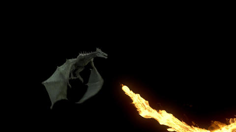 Realistic Dragon flying and breathing fire. Looped clip with alpha matte Animation