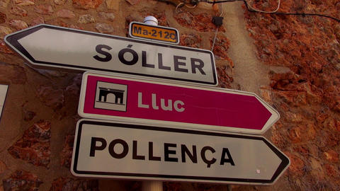 Traffic directions signs in a small spanish village Live Action