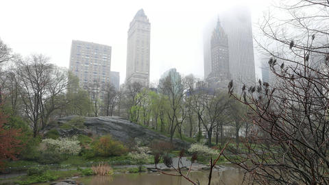 Manhattan in the mist on a rainy day Footage