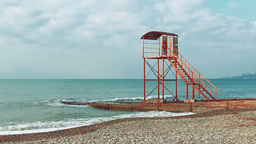 Empty lifeguard tower on the beach of the Black Sea in the early morning Footage
