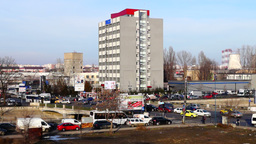 BUCHAREST - ROMANIA, February 2016 - Intense Traffic, Polluted City, Industrial  stock footage