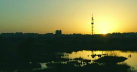 Twilight in the city.Sunset in Bucharest,Romania, in Vacaresti Delta, time lapse Footage