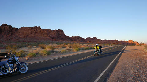 Two Bikers Driving Through The West Of The United States. Pure Freedom stock footage