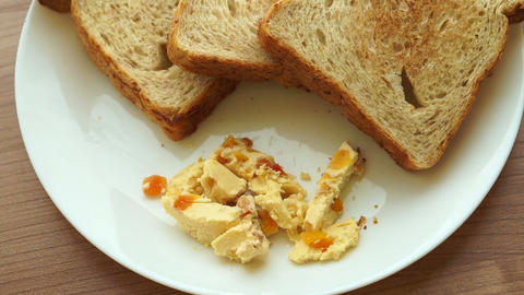 Cream apricot cheese spread the side of toasts dish Live Action
