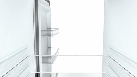 Empty fridge, view from the inside Animation