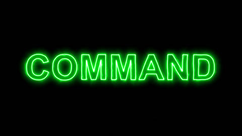 Neon flickering green text COMMAND in the haze. Alpha channel Premultiplied - Animation