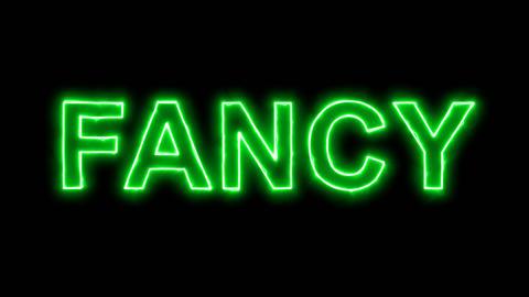 Neon flickering green text FANCY in the haze. Alpha channel Premultiplied - Animation