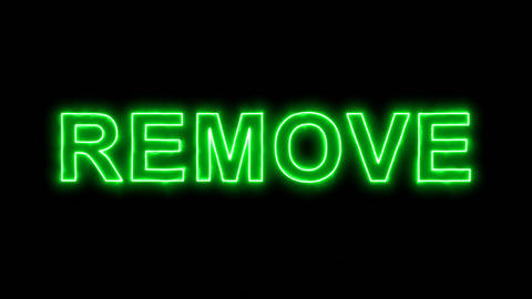 Neon flickering green text REMOVE in the haze. Alpha channel Premultiplied - Animation