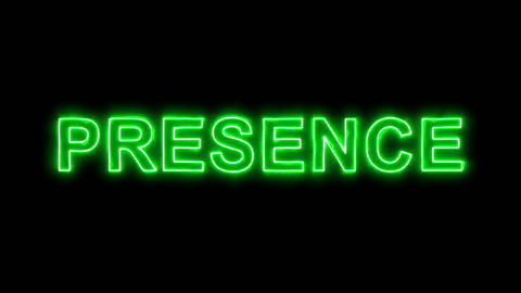 Neon flickering green text PRESENCE in the haze. Alpha channel Premultiplied - Animation