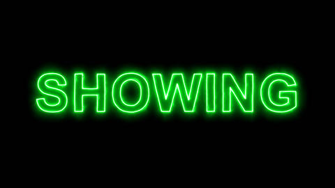 Neon flickering green text SHOWING in the haze. Alpha channel Premultiplied - Animation