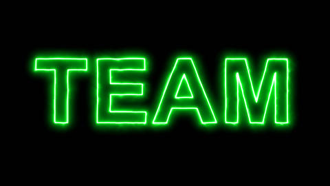 Neon flickering green text TEAM in the haze. Alpha channel Premultiplied - Animation