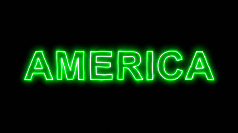 Neon flickering green continent name AMERICA in the haze. Alpha channel Animation