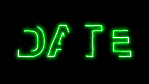 Neon flickering green text DATE in the haze. Alpha... Stock Video Footage