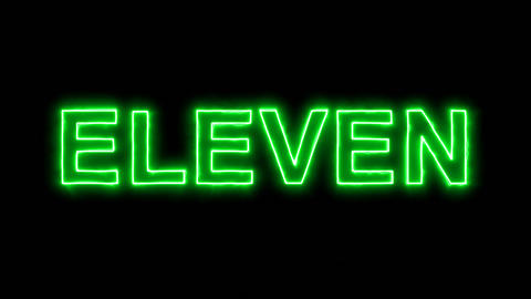 Neon flickering green text ELEVEN in the haze. Alpha channel Premultiplied - Animation