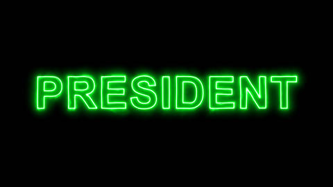 Neon flickering green text PRESIDENT in the haze. Alpha channel Premultiplied - Animation