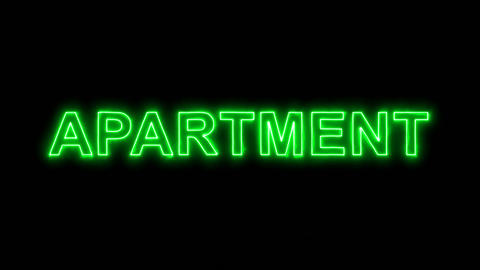 Neon flickering green text APARTMENT in the haze. Alpha channel Premultiplied - Animation